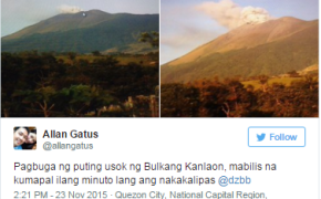 Kanlaon Volcano in Canlaon City, Negros Oriental Raised In Alert Level 1