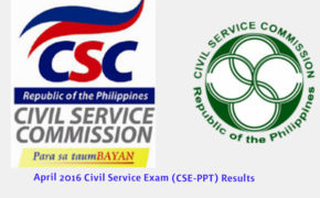 CARAGA Region List of Passers: April 2016 Civil Service Exam (CSE-PPT) Results 'Professional Level'
