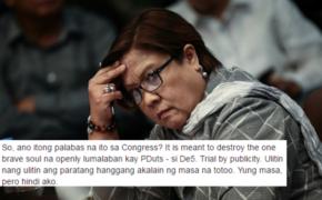 "Senate Probe Hearing only ""Trial by publicity"" against Senator Leila De Lima"