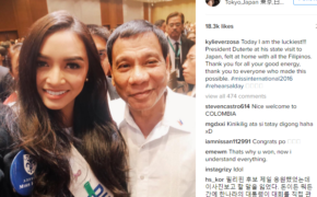 Philippine President Rodrigo Duterte Meets Miss International 2016 Kylie Verzosa on Japan
