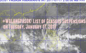#WALANGPASOK: List of Classes Suspensions on Tuesday, January 17, 2017