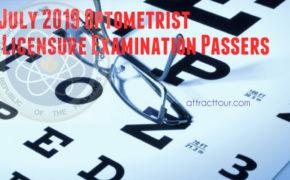 Congratulations! July 2019 Optometrist Licensure Examination Passers