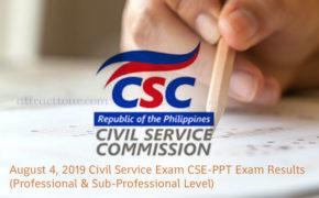 FULL LIST: August 4, 2019 Civil Service Exam CSE-PPT Exam Results (Professional & Sub-Professional Level)
