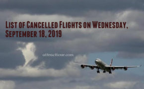 List of Cancelled Flights on Wednesday, September 18, 2019
