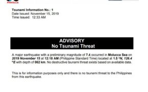 Just In: NO TSUNAMI threat in the Philippines following the magnitude 7.4 Earthquake Hits near Moluccas, Indonesia