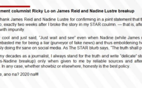 Ricky Lo Fires Back to Nadine Lustre (Truth Shall Prevail)
