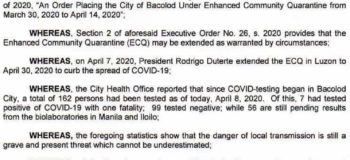 BREAKING NEWS: Bacolod City Extending Quarantine Upto April 30, 2020