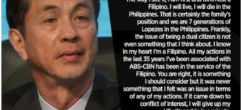 """ABS-CBN Chairman Eugenio """"Gabby"""" Lopez III to Give up US Citizenship for the Sake of Franchise"""