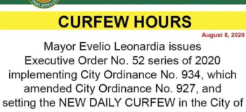 Bacolod City Mayor Evelio Leonardia Confirmed 8:00 PM to 4:00 AM Curfew starts on August 9, 2020